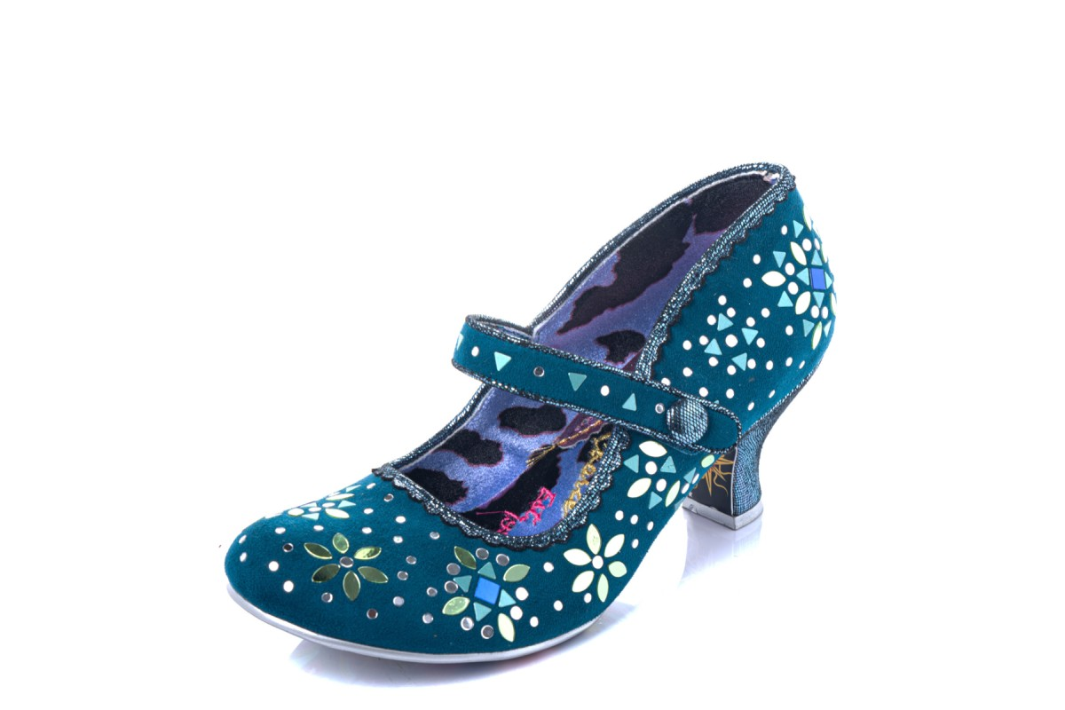 Irregular Choice Glory Days Teal Sequin Mid Heel Mary Jane Shoes