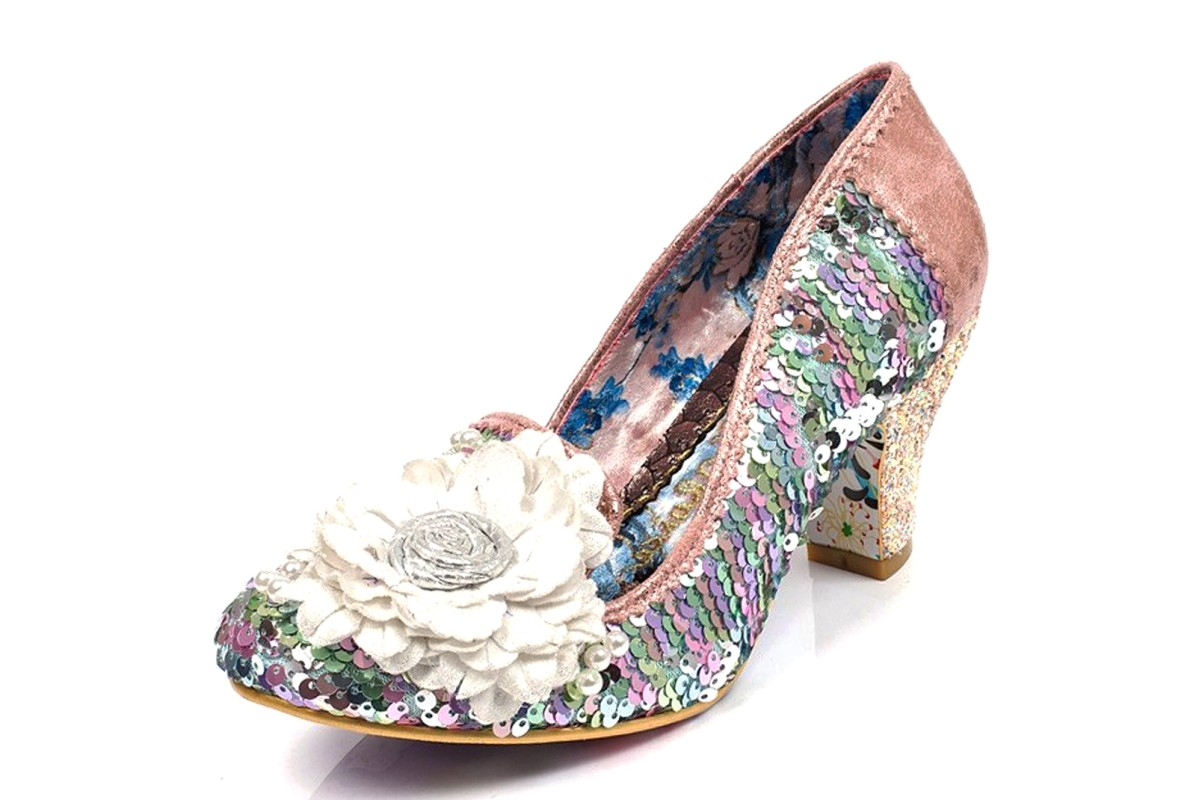 Irregular Choice Hey Fever White Pink Sequin Glitter Mid Heel Court Shoes