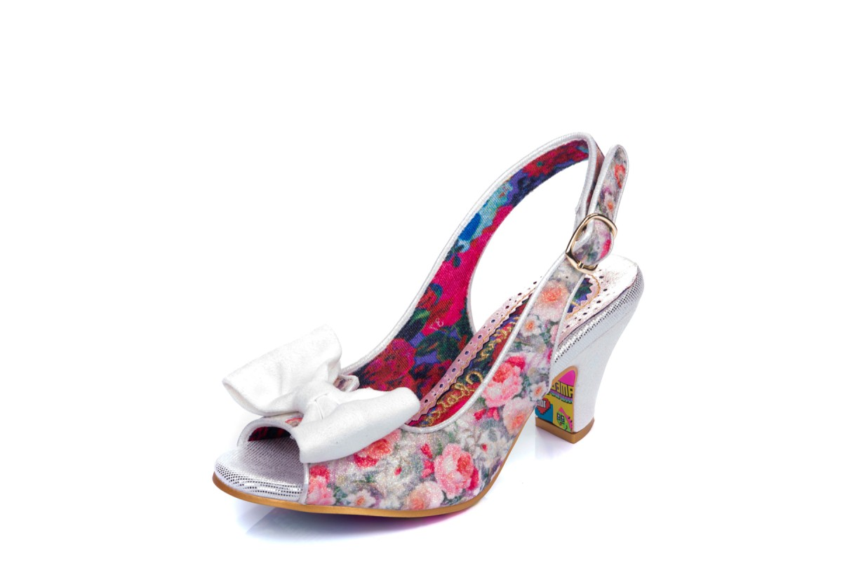 Irregular Choice Hiya Synth White Pink Floral Glitter Open Toe High Heel Shoes