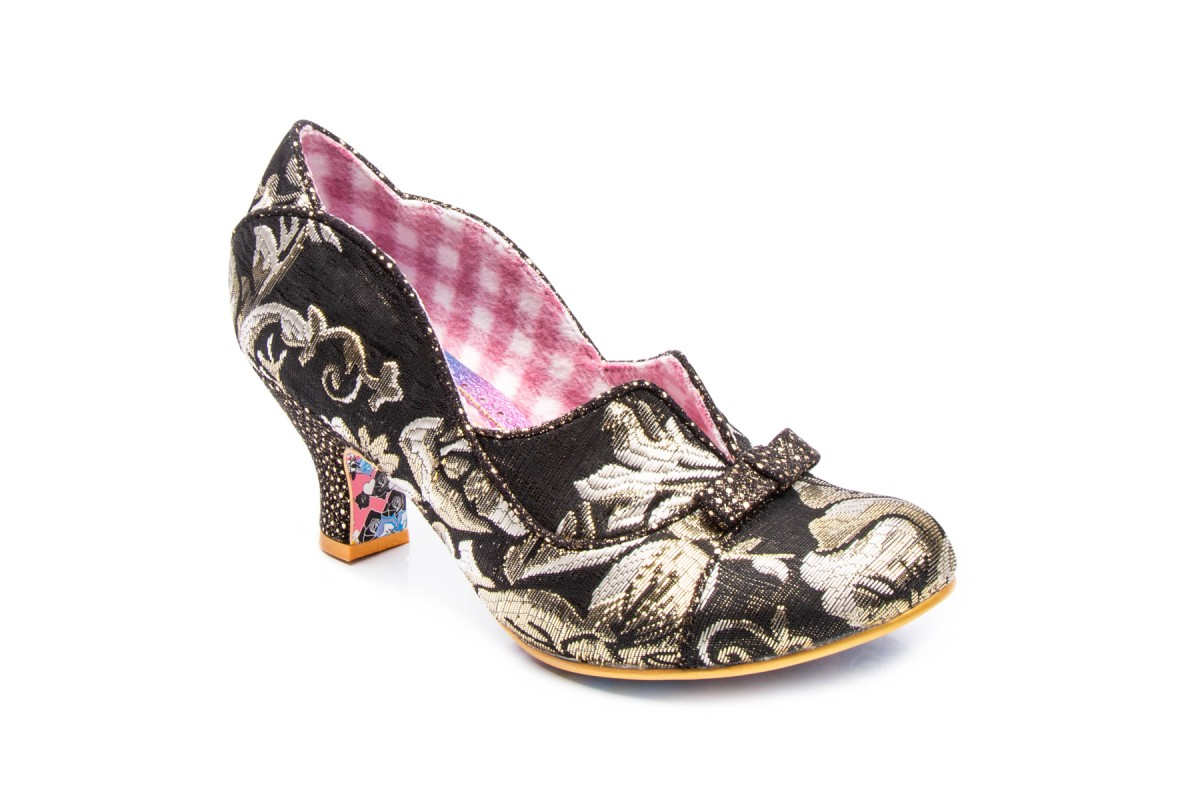 Irregular Choice Hold Up Black Gold Floral Low Heel Shoes