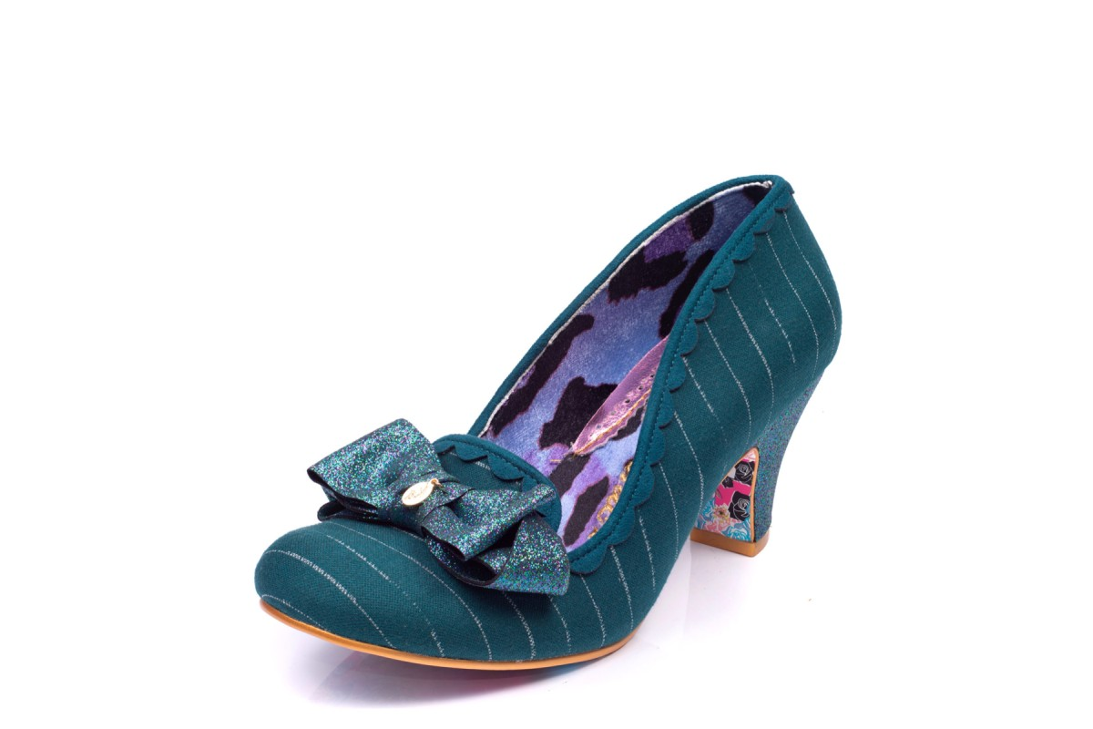Irregular Choice Kanjanka Teal Dark Green Pinstripe Bow Mid Heel Shoes