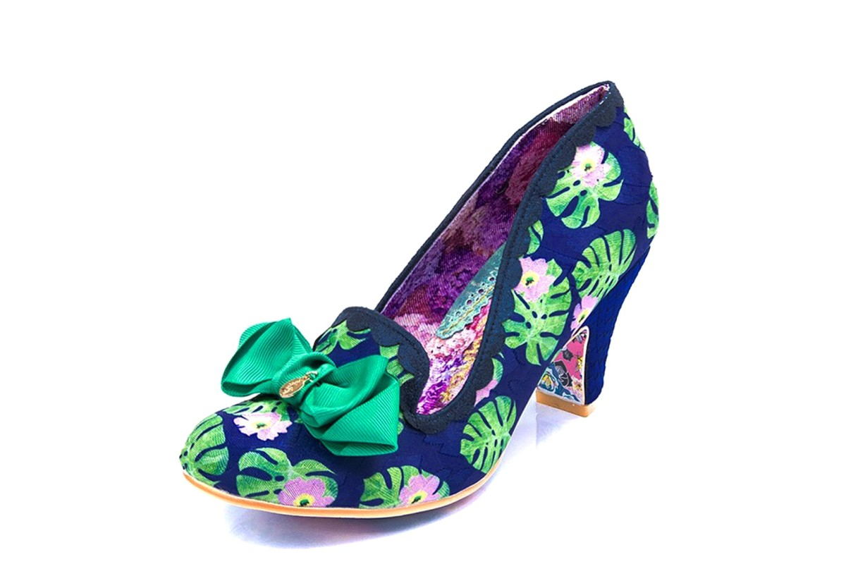 Irregular Choice Kanjanka Navy Green Floral Palm Print Mid Heel Shoes