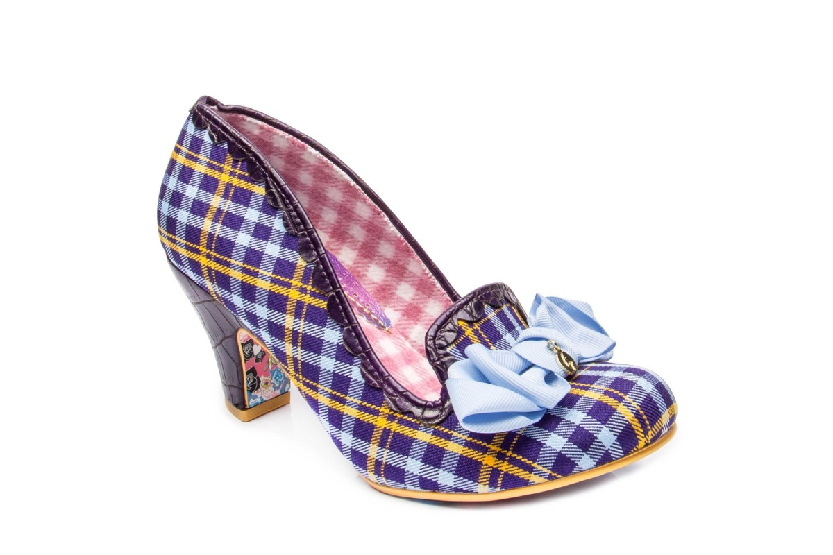 Irregular Choice Kanjanka Purple Blue Yellow Tartan Check Mid Heel Shoes