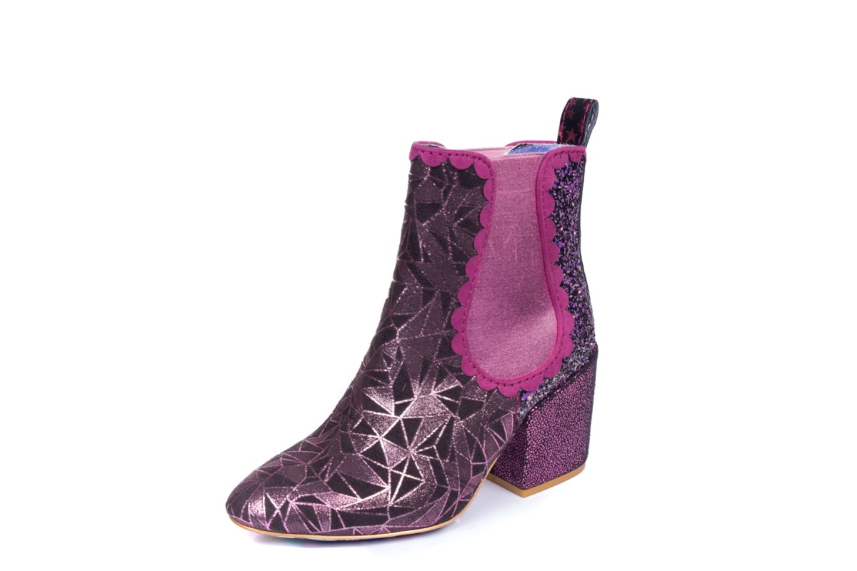 Irregular Choice Kings Road Pink Geo Glitter Block Heel Chelsea Ankle Boots