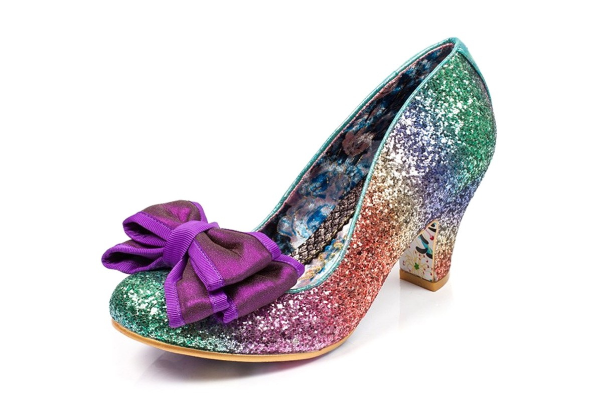 Irregular Choice Lady Ban Joe Multi Rainbow Glitter Mid Heel Court Shoes