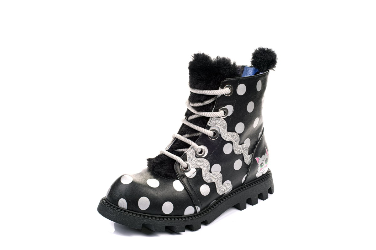 Irregular Choice Lexie Black Silver Polka Dot Lace Up Cat Combat Ankle Boots