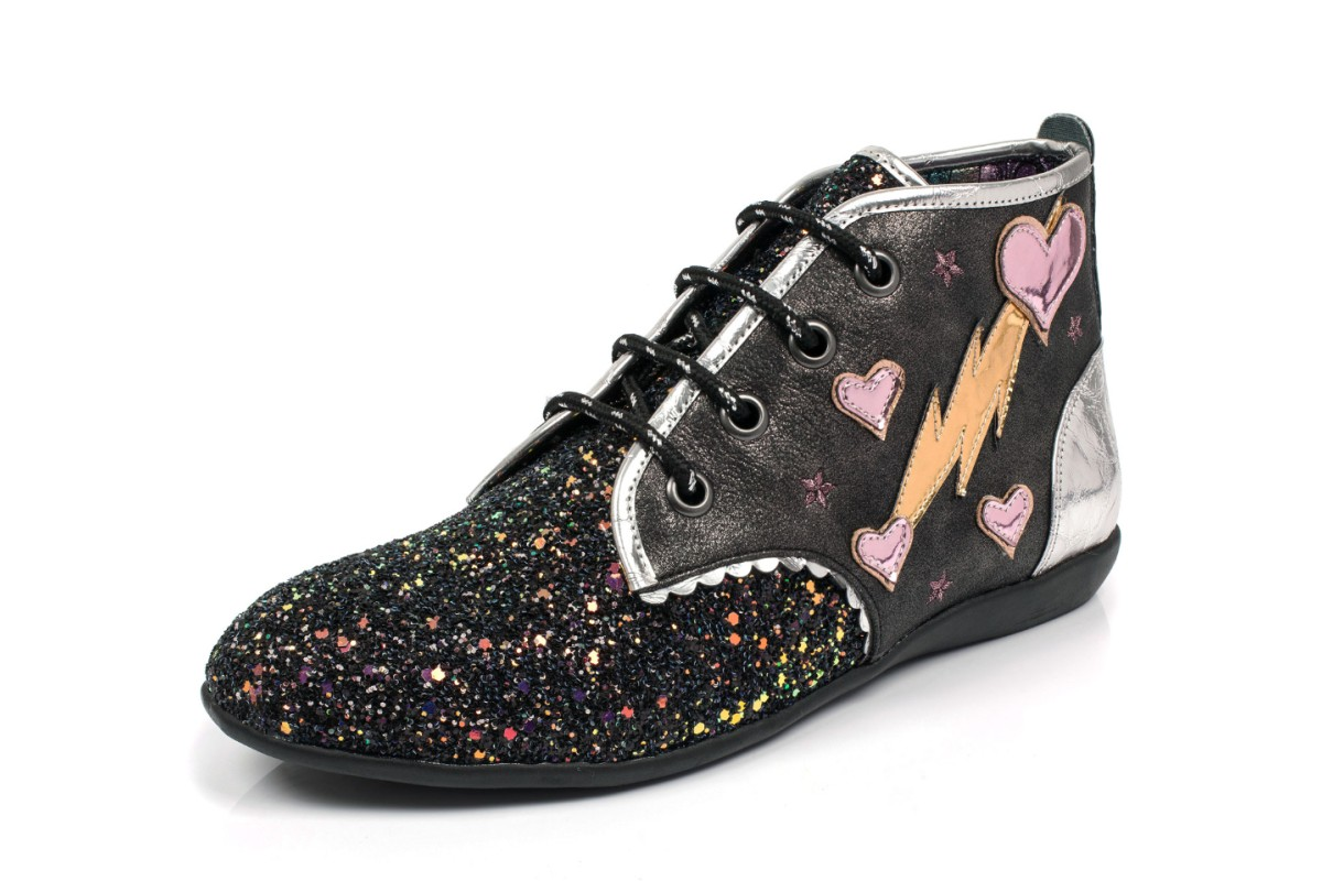 Irregular Choice Lightning Love Black Silver Glitter Lace Up Ankle Boots