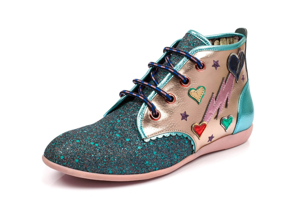 Irregular Choice Lightning Love Pink Green Glitter Lace Up Ankle Boots