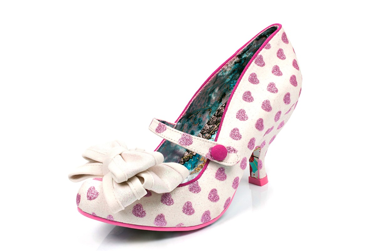 Irregular Choice Love Is In The Air While Pink Glitter Heart Mid Heel Shoes