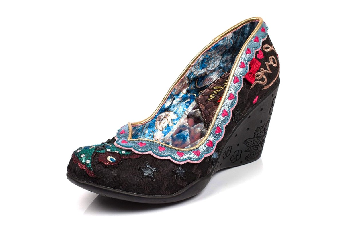 Irregular Choice Love Nest Black Bird High Heel Wedge Shoes
