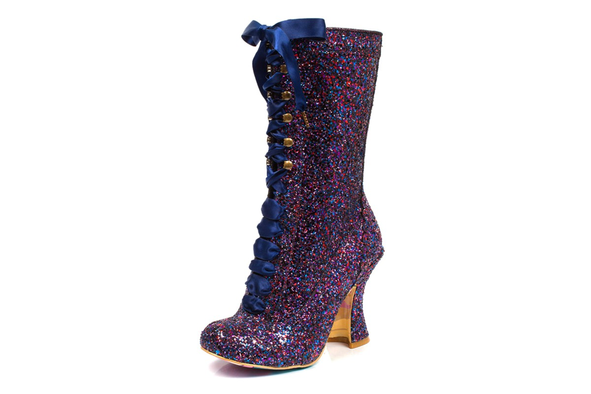 Irregular Choice Luna Sparkles Purple Blue High Heel Lace Up Glitter Boots