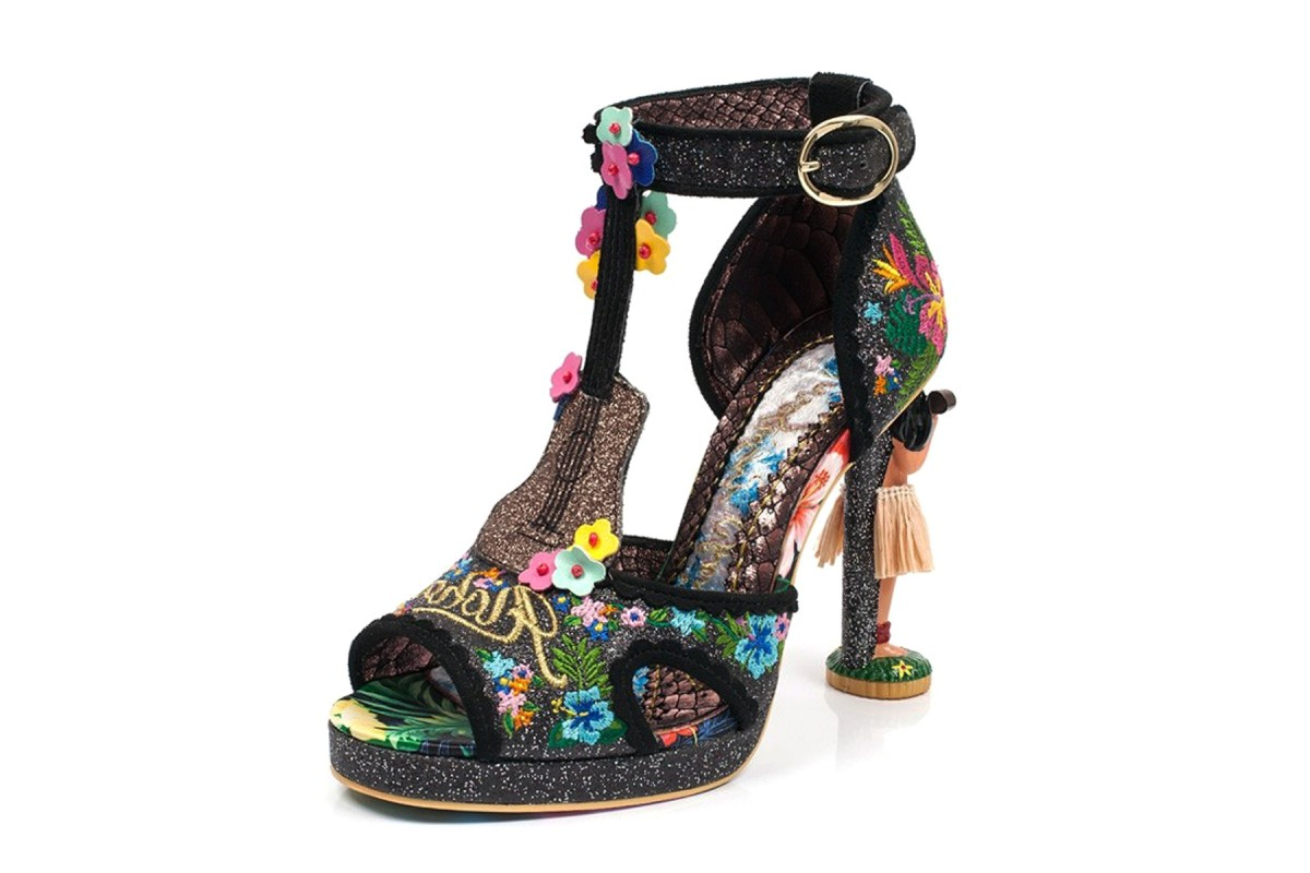 Irregular Choice Magical Maui Black Glitter Floral Ankle Strap Character High Heel Sandals