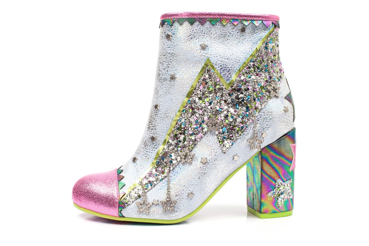 Irregular Choice Major Tom Pink White Silver Glitter Lightening Bolt High Heel Ankle Boots