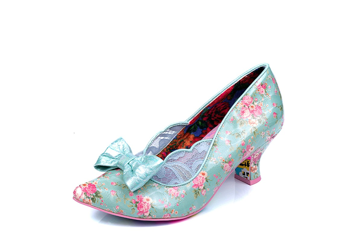 Irregular Choice Marma Ladies Blue Floral Mid Heel Lace Court Shoes