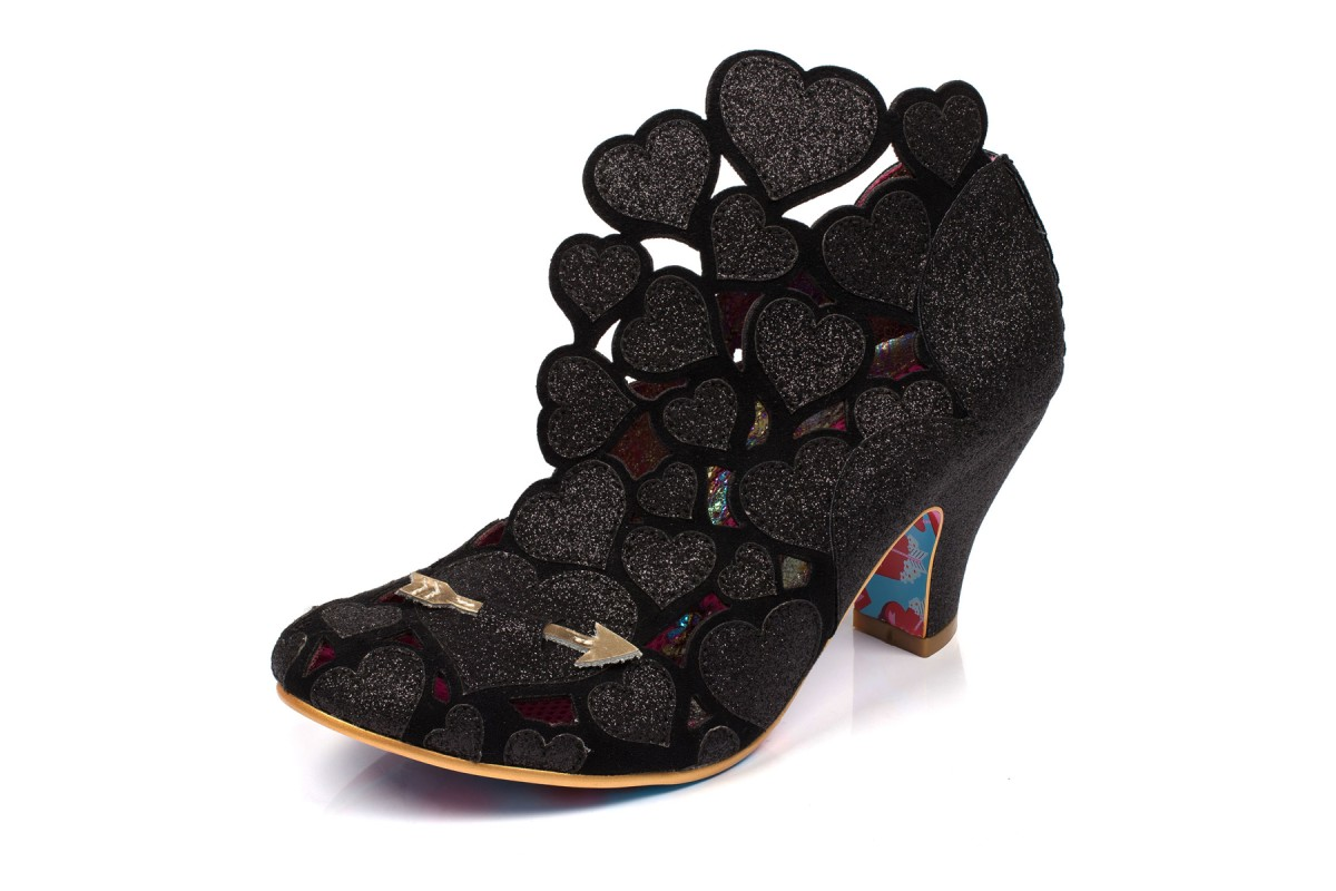 Irregular Choice Meile Black Glitter Love Hearts High Heel Shoes