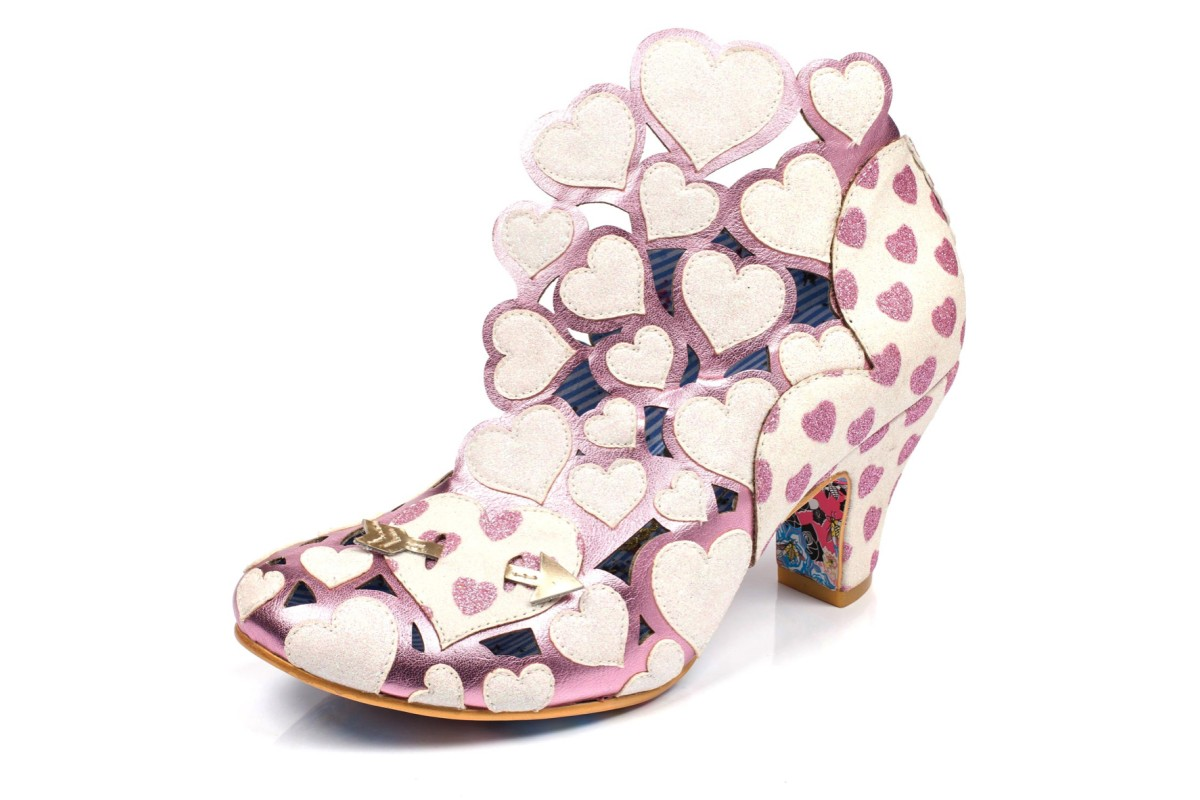 Irregular Choice Meile White Pink Glitter Love Hearts High Heel Shoes