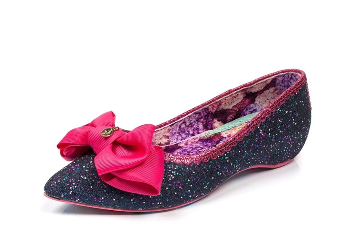5b8c329837ee Irregular Choice Mint Slice Blue Navy Glitter Pink Bow Ballet Shoes -  KissShoe