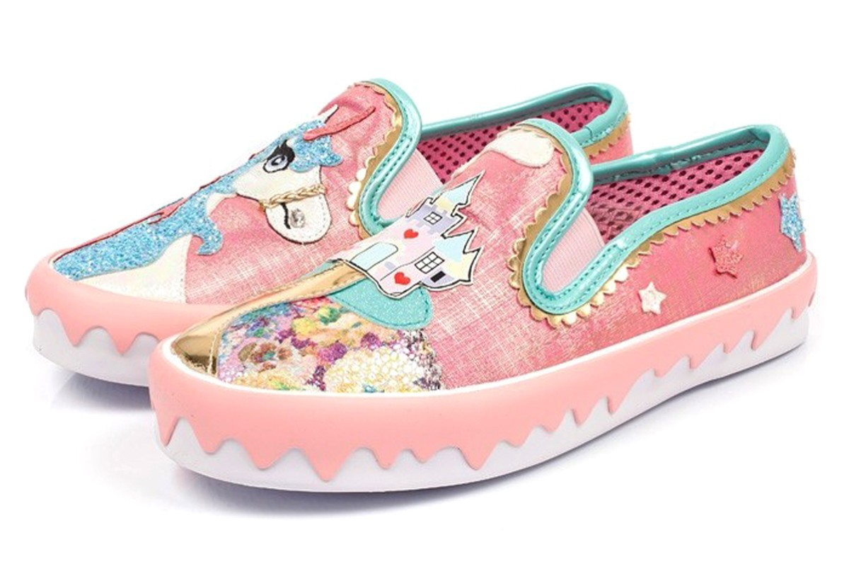 Irregular Choice Mistys Castle Pink Unicorn Trainers Flat Shoes