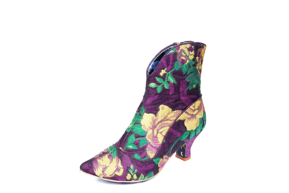 Irregular Choice Ms Vivacious Pink Yellow Floral Tapestry Mid Heel Ankle Boots