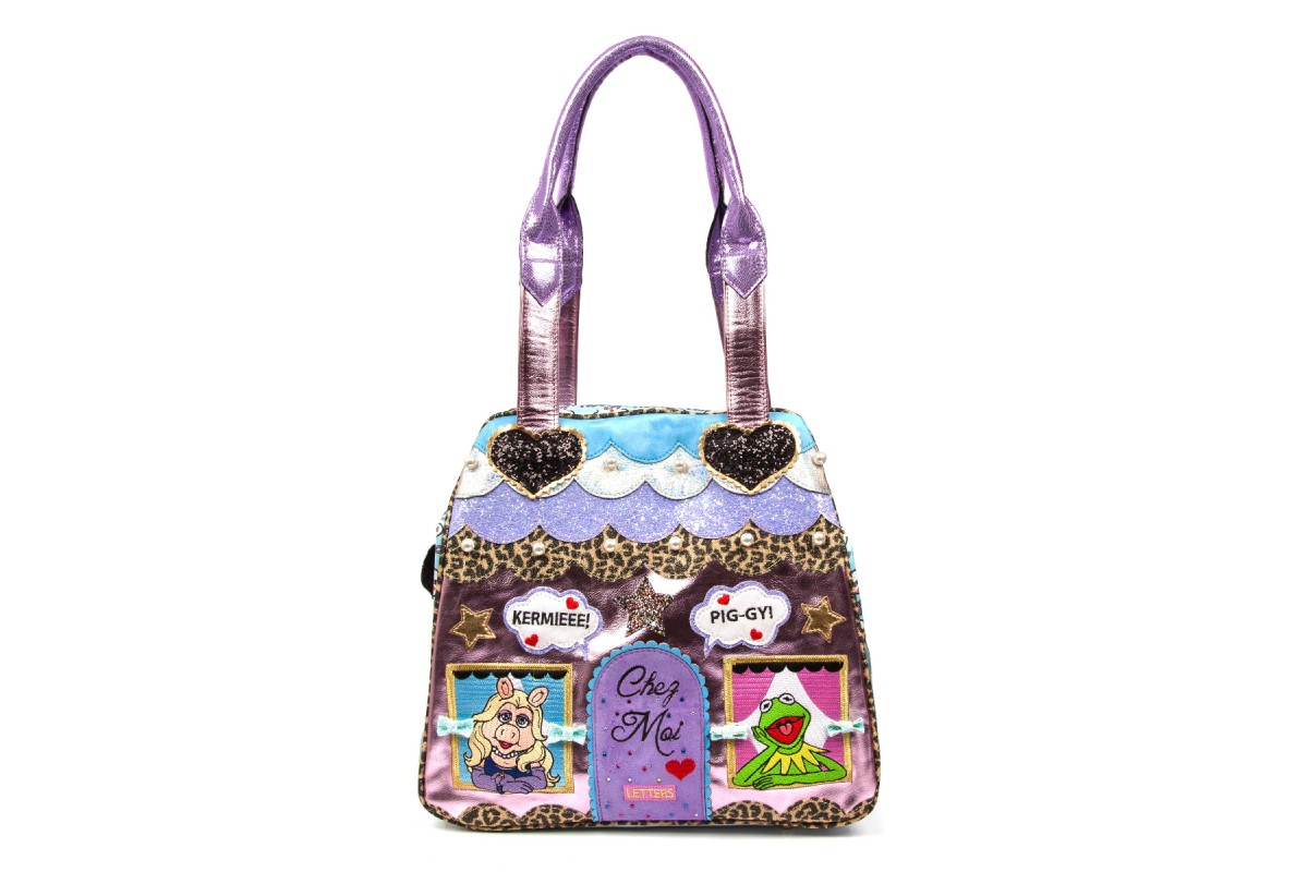 Irregular Choice Muppets Chez Moi Pink Blue Miss Piggy Kermit The Frog Tote Bag