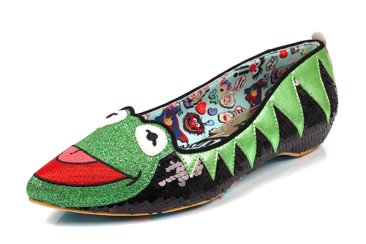 Irregular Choice Muppets Kermit The Frog Black Sequin Flat Ballet Shoes