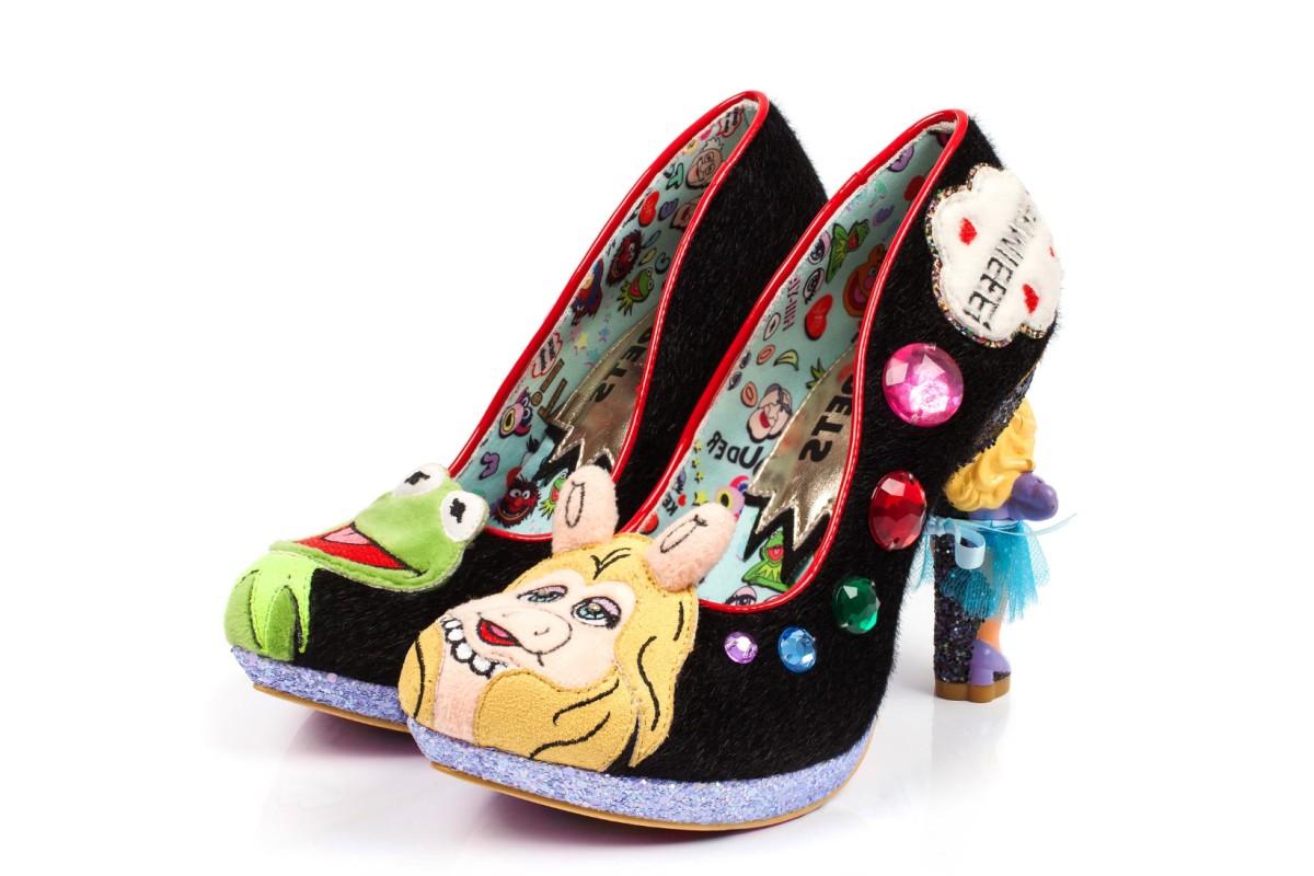 a77c63204a8 Irregular Choice Muppets Supercouple Black Miss Piggy Kermit The Frog High  Heel Court Shoes