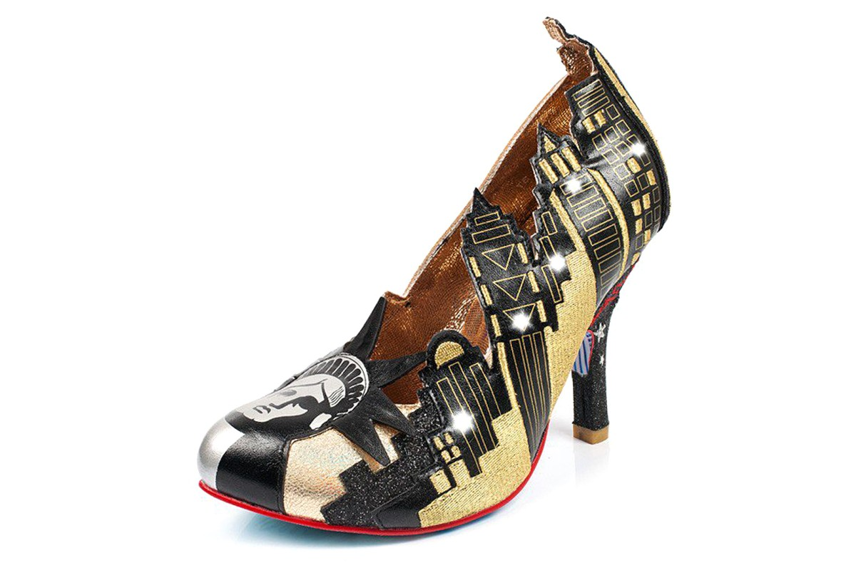 Irregular Choice New York Black Gold Limited Edition Court Shoes