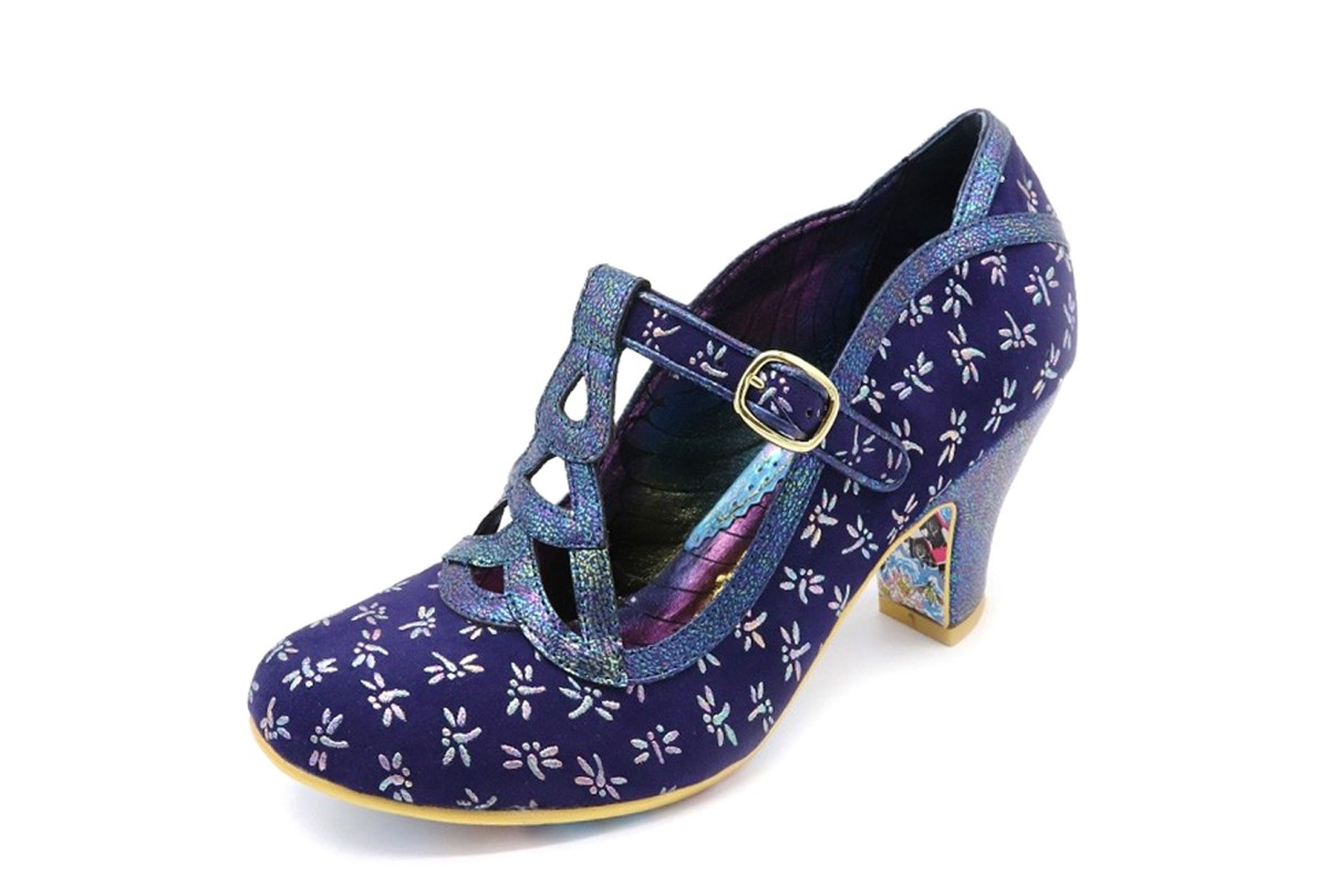 Irregular Choice Nicely Done Navy Blue Dragonfly Mid Heel Shoes