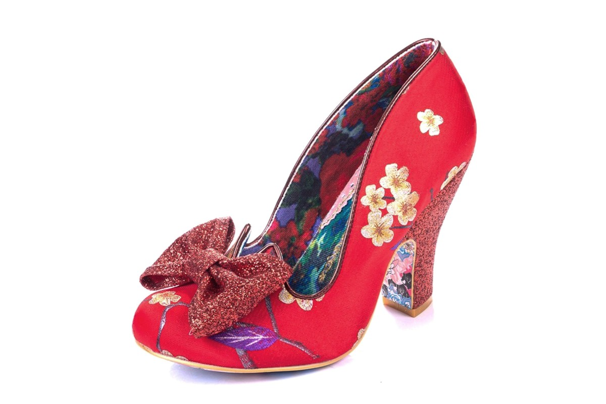 Red Floral High Heel Glitter Shoes