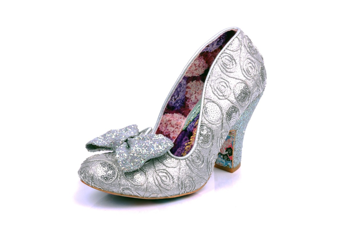 9adc94439e0e Irregular Choice Nick Of Time Silver Sequin Glitter High Heel Court Shoes -  KissShoe