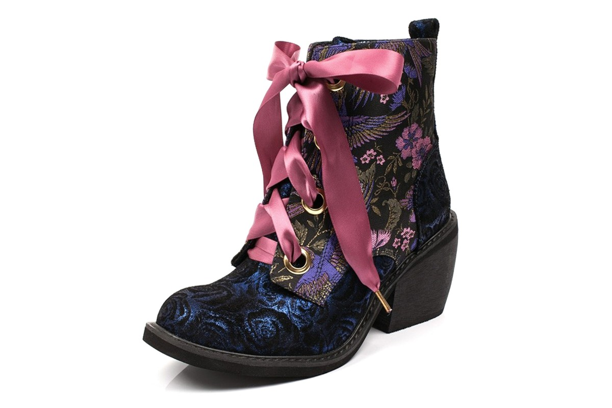 Irregular Choice Quick Getaway Blue Black Pink Floral Block Heel Lace Up Ankle Boots
