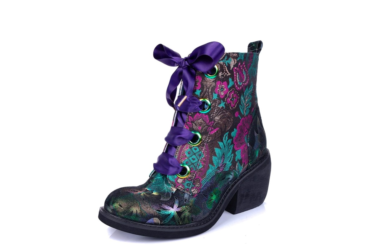 Irregular Choice Quick Getaway Green Red Teal Gold Floral Block Heel Lace Up Ankle Boots