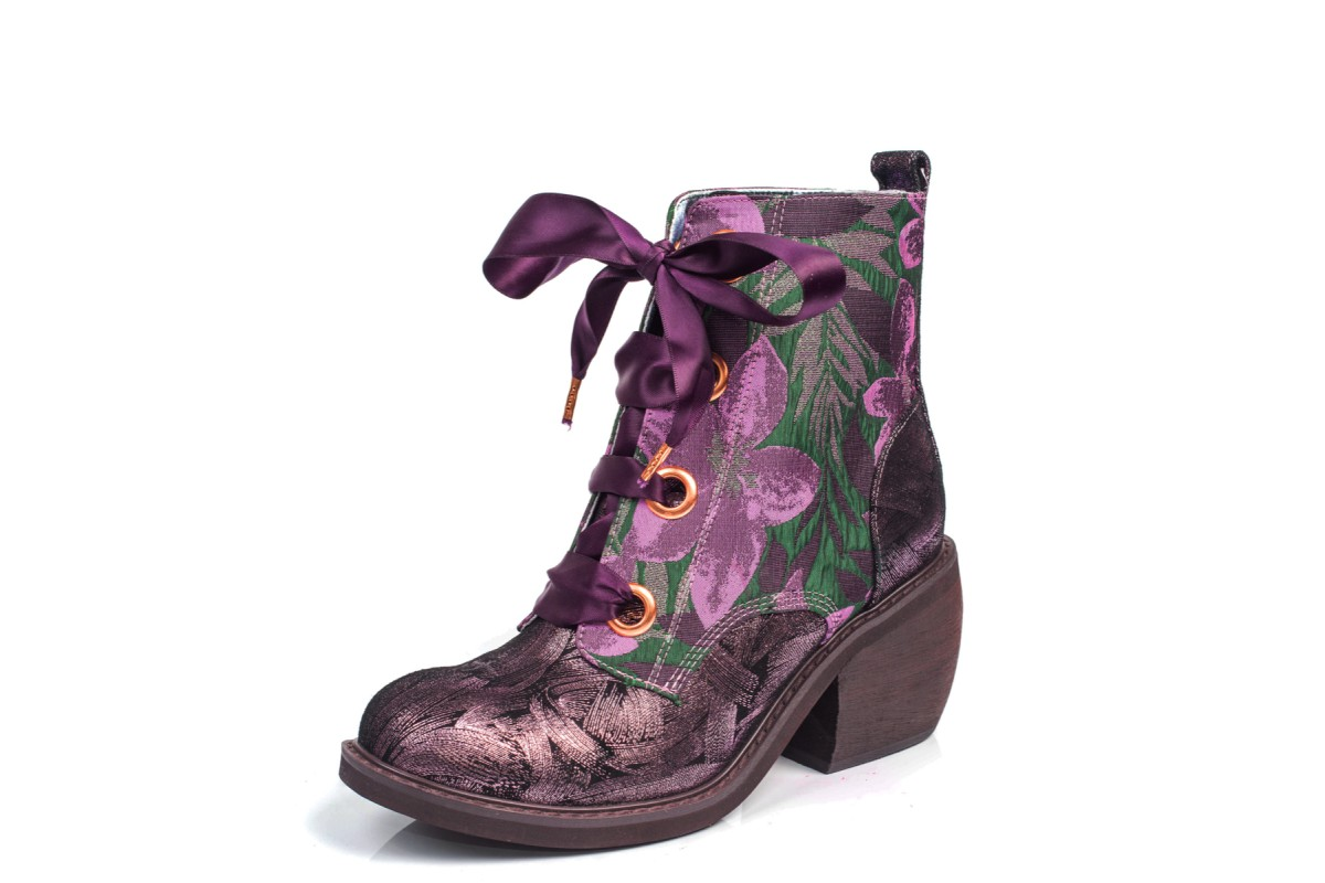 Irregular Choice Quick Getaway Pink Green Purple Block Heel Lace Up Ankle Boots