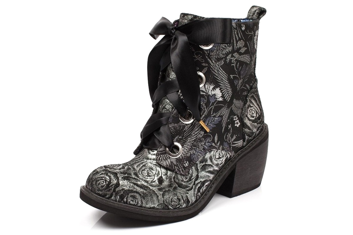 Irregular Choice Quick Getaway Silver Black Floral Block Heel Lace Up Ankle Boots