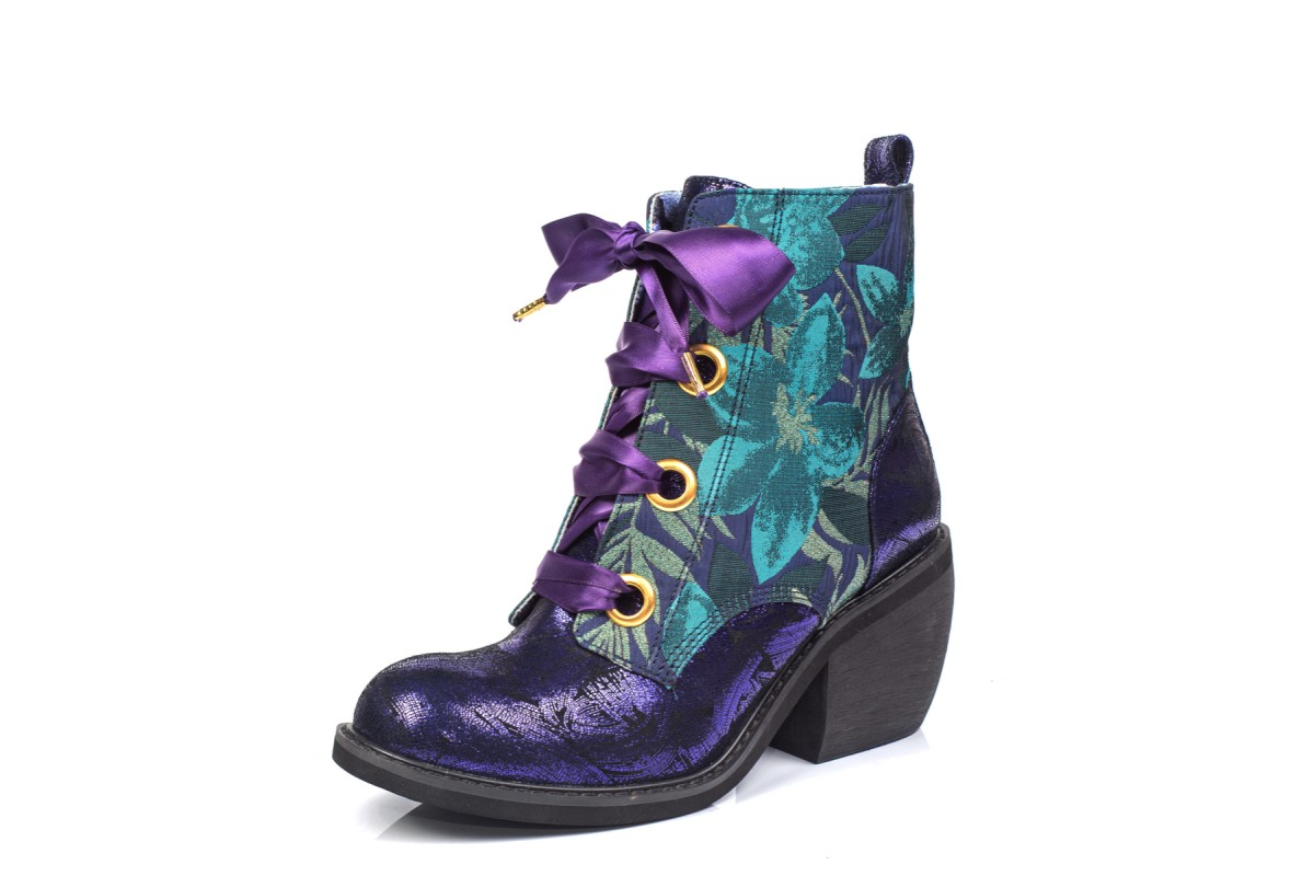Irregular Choice Quick Getaway Violet Purple Green Gold Block Heel Lace Up Ankle Boots