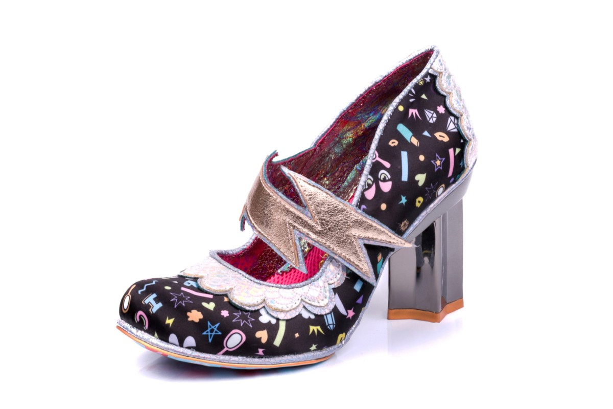 Irregular Choice Rainbow Thunder Black Lightning Bolt High Heel Shoes
