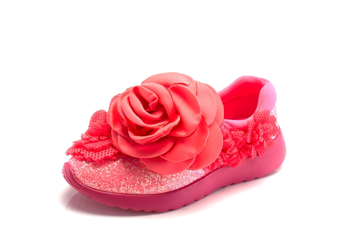 Irregular Choice Rambling Rose Pink Neon Flower Slip On Low Top Trainers