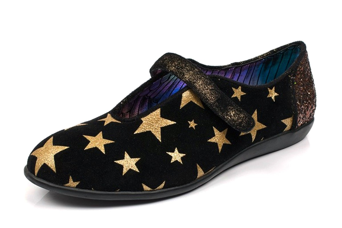 Irregular Choice Rumba Black Suede Gold Glitter Star Flat Shoes