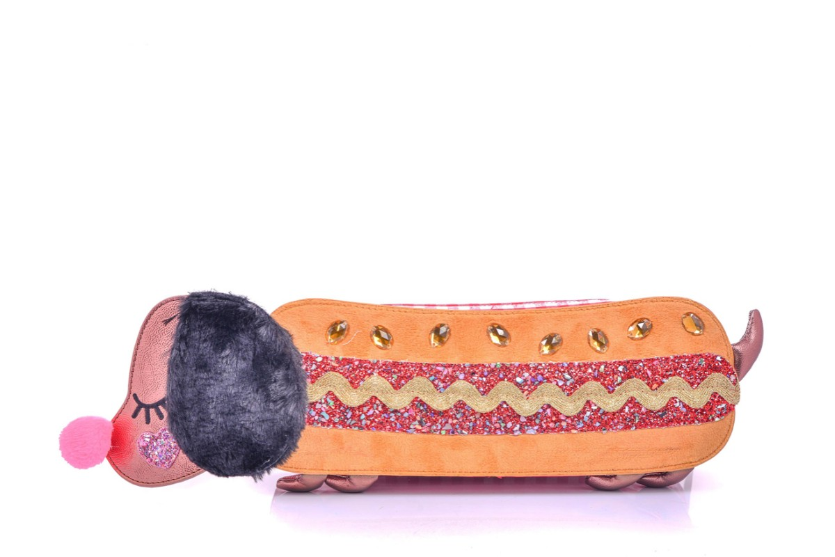 Irregular Choice Sausage Sarnie Dachshund Hotdog Gold Red Glitter Dog Shoulder Bag
