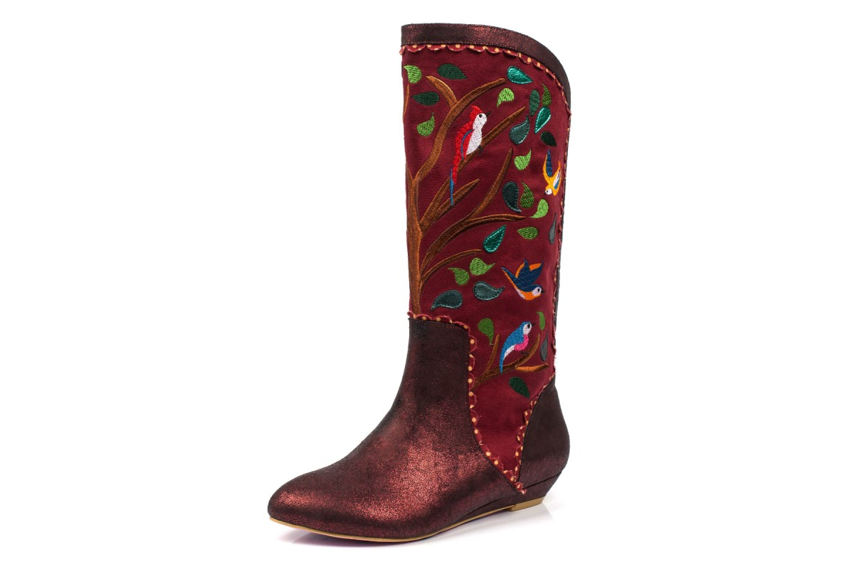 Irregular Choice Septima Red Burgundy Embroidered Bird Low Heel Calf Boots