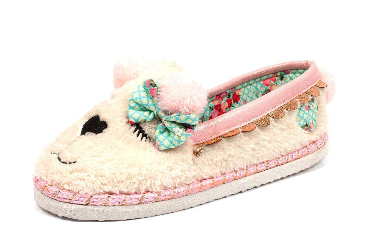 Irregular Choice Sleepy Ted Off White Furry Teddy Bear Slippers
