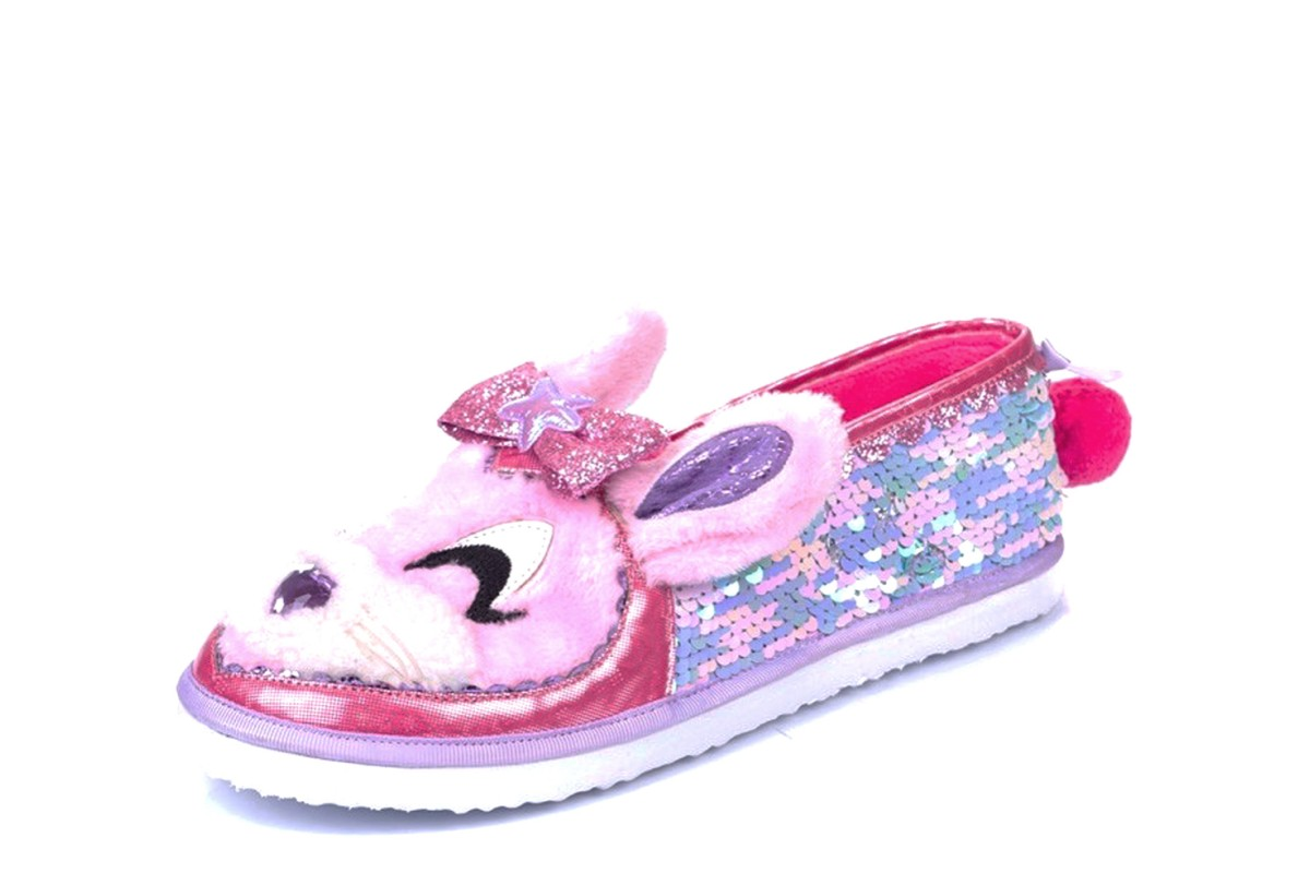Irregular Choice Some Bunny To Love Pink Sequin Rabbit Slippers