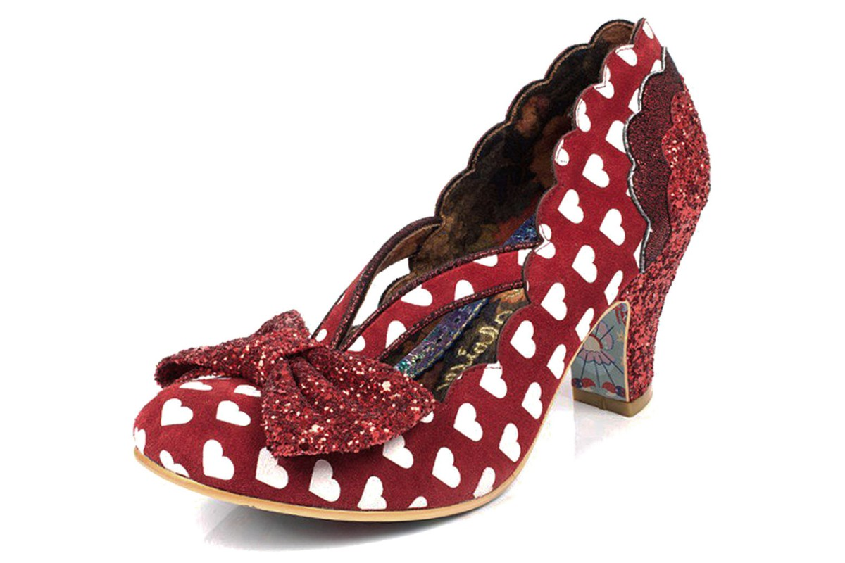 Irregular Choice Stage Left Red White Heart Print Mid Heel Court Shoes