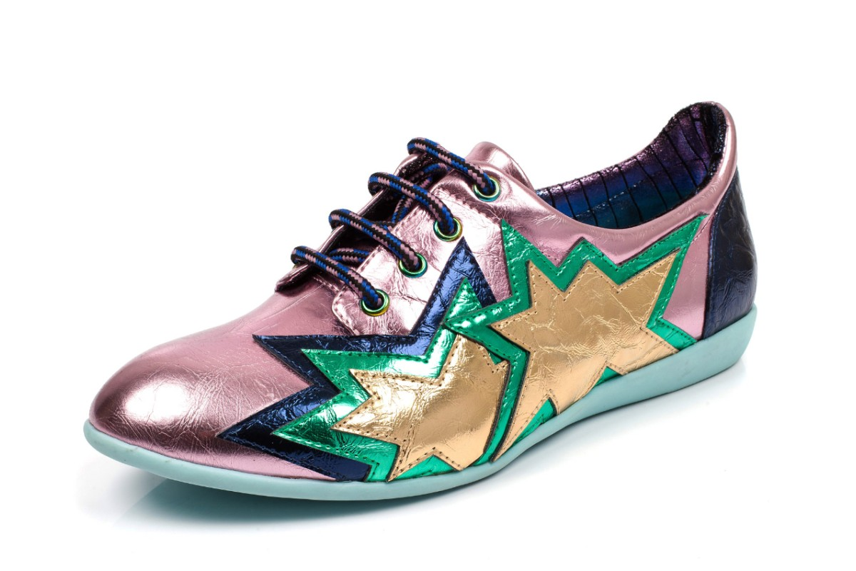Irregular Choice Star Light Pink Navy Lace Up Flat Shoes