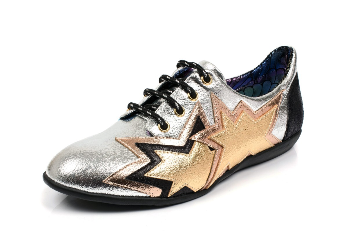 Irregular Choice Star Light Silver Black Metallic Lace Up Flat Shoes