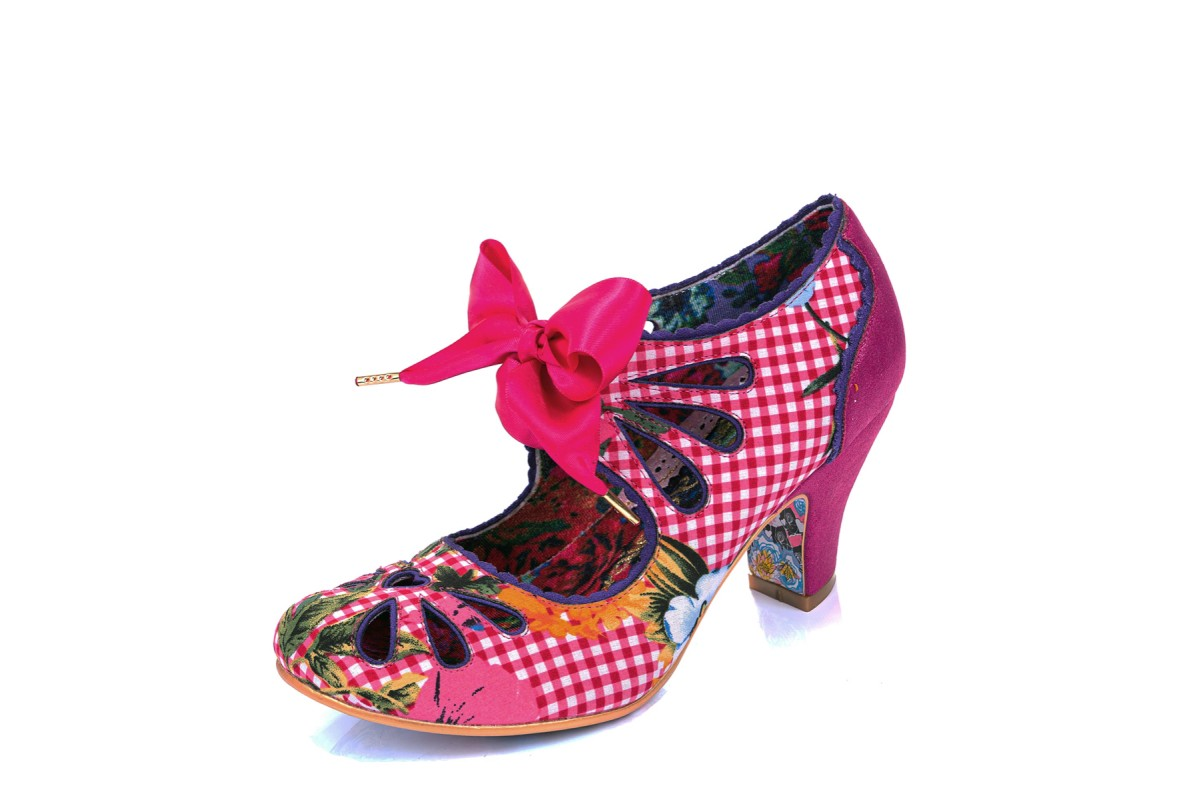Irregular Choice Sugar Plum Pink Gingham Check Floral High Heel Shoes