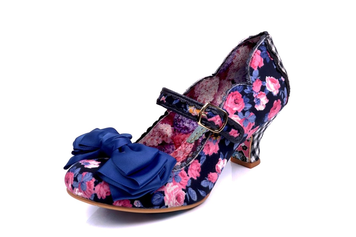 Irregular Choice Summer Breeze Blue Navy Floral Mary Jane Mid Heel Shoes