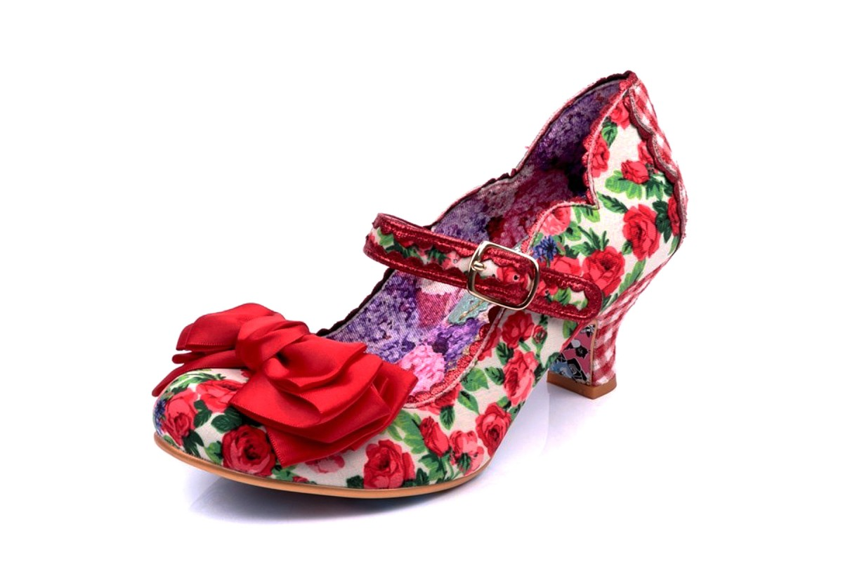 Irregular Choice Summer Breeze Red Floral Mary Jane Mid Heel Shoes