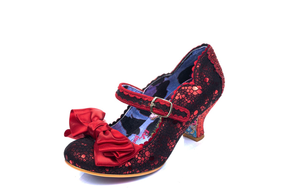 Irregular Choice Summer Breeze Red Floral Ladies Low Heel Mary Jane Buckle Shoe