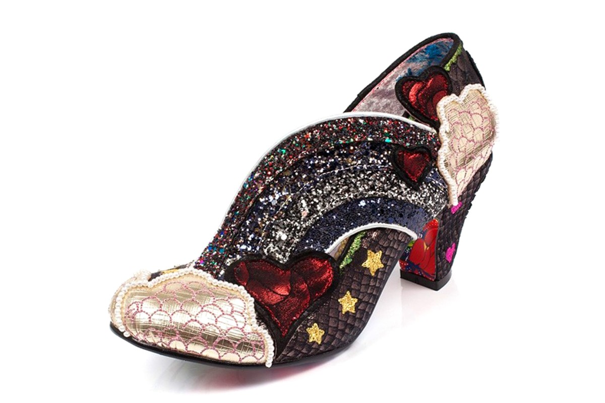 Irregular Choice Summer Of Love Black Gold Glitter Rainbow Heart Mid Heel Shoes